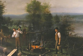 painting of campfire scene with two men