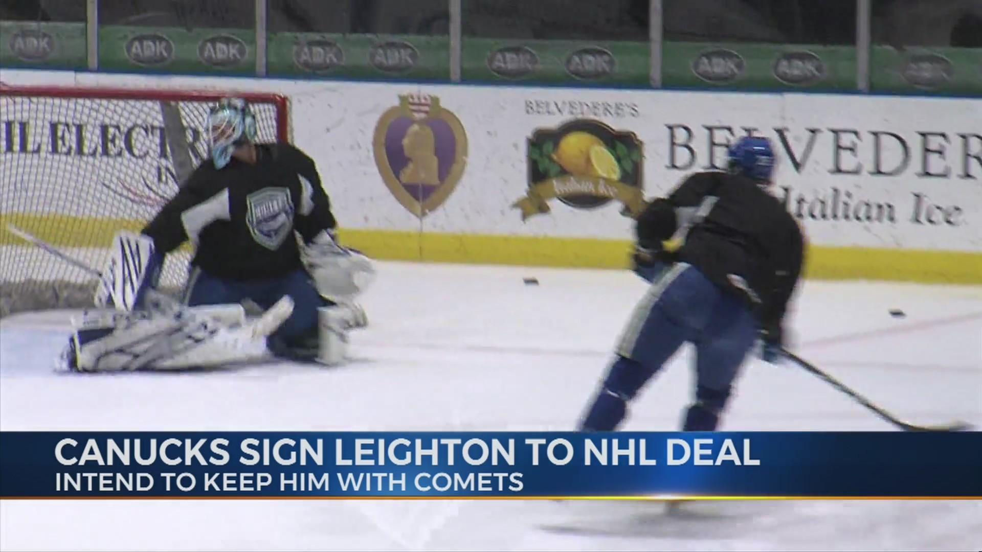 Leighton receives NHL deal, Sautner recalled