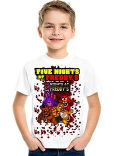 Five Nights At Freddy Remeras Blancas Manga Corta