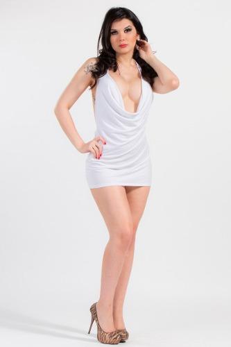 Vestido Blanco Mini-escote Buche Con Lazo