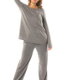 Pijama Largo Mujer 2 Piezas Gris Topo Mizu
