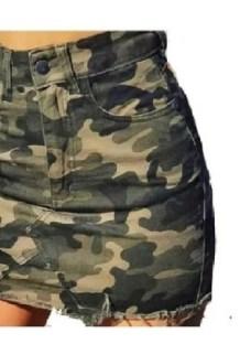 Pollera Jean Mini Mujer Camuflada Elastizada Talle 36 Al  46