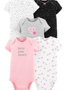 Carter's Pack 5 Bodys Corazón Bebé Nenas