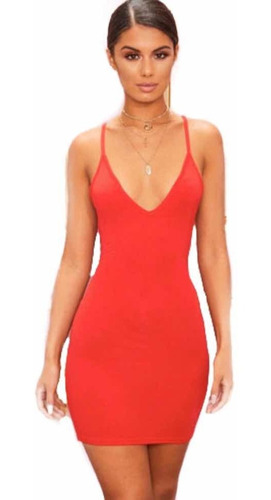 Vestido Tiras Mujer Cuello V Vestido Corto Dama Casual Moda