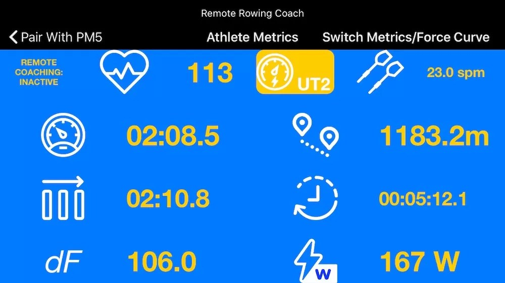 remote rowing coach metrics ios app