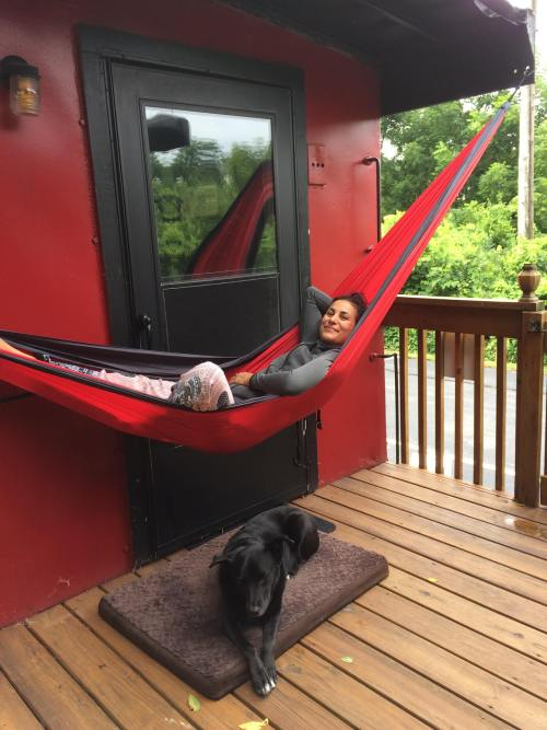 Hammock swing on back of caboose - How She Lost Her Real Estate Empire and Then Bounced Back Again