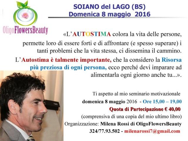Brescia - conferenza autostima 8 maggio  2016 - una frase del coach motivazionale Giancarlo Fornei