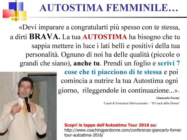 AUTOSTIMA FEMMINILE - scrivi 7 cose belle di te - una frase del coach motivazionale Giancarlo Fornei