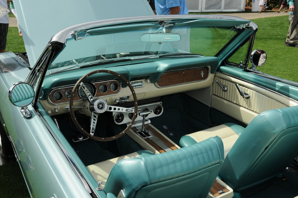 Interior of the 1966 Mustang convertible replica from Revology. MSRP: $135,900.