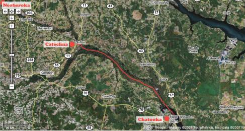 "(The following map was produced with Google Maps. All landmarks in red were placed on the map by the author for clarity.) Red line indicates path up Neuse River from New Bern into the heart of southern Tuscarora territory. At Grifton begins one of the tributary creeks of the Neuse which is known today as Contentnea. This creek name is a corruption of the name of the Tuscarora village referred to as Catechna in some colonial records. According to place name etymology studies by Dr. Blair Rudes, this place name would have actually been pronounced by the Tuscaroras, ""Kahtéhnu-?"" which is known to mean ""submerged loblolly pine."" If Contentnea Creek is followed further north, it would eventually reach the village, and later fort site, of Neoheroka. Rudes' place name etymology for Neoheroka suggests a meaning of ""forked field."" (Rudes 4-6)"