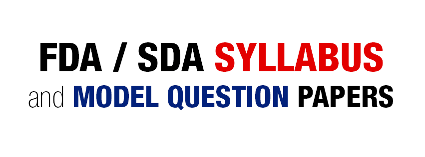 KPSC Examination for FDA / SDA - Syllabus & Model Question Papers