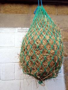 Small hay net horse feeding