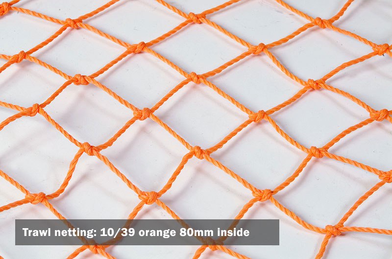 Trawl netting: 10/39 orange 80mm inside