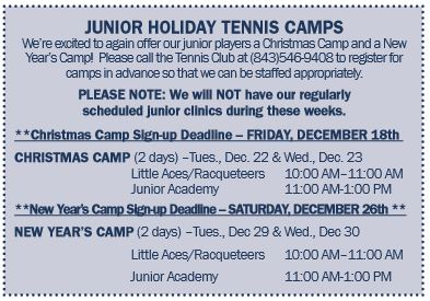 Junior Holiday Tennis Camps 2015