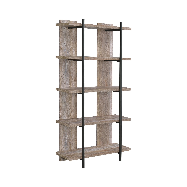 Samson 5 Tier Bookcase Weathered Oak And Black Coaster