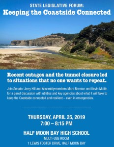Public Meeting with ATT, Comcast, Cal Trans ~ Wed. 4/25 @ 7pm @ HS (for now) @ Half Moon Bay High School