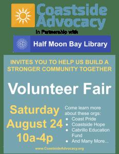 Coastside Advocacy Volunteer Fair ~ Find Your Place to Volunteer on the Coastside @ Half Moon Bay Library | Half Moon Bay | California | United States