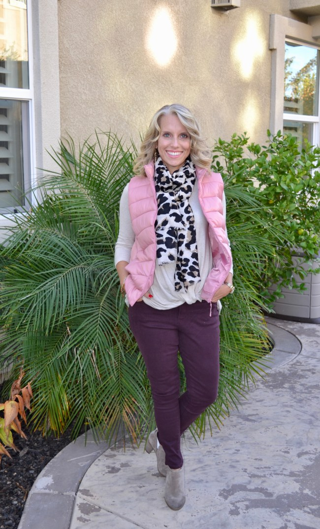 Vests, Leopard scar, burgundy jeans, fall fashion