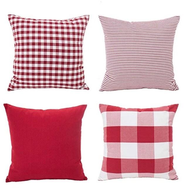Christmas Pillows, Red Pillow, Plaid Pillow