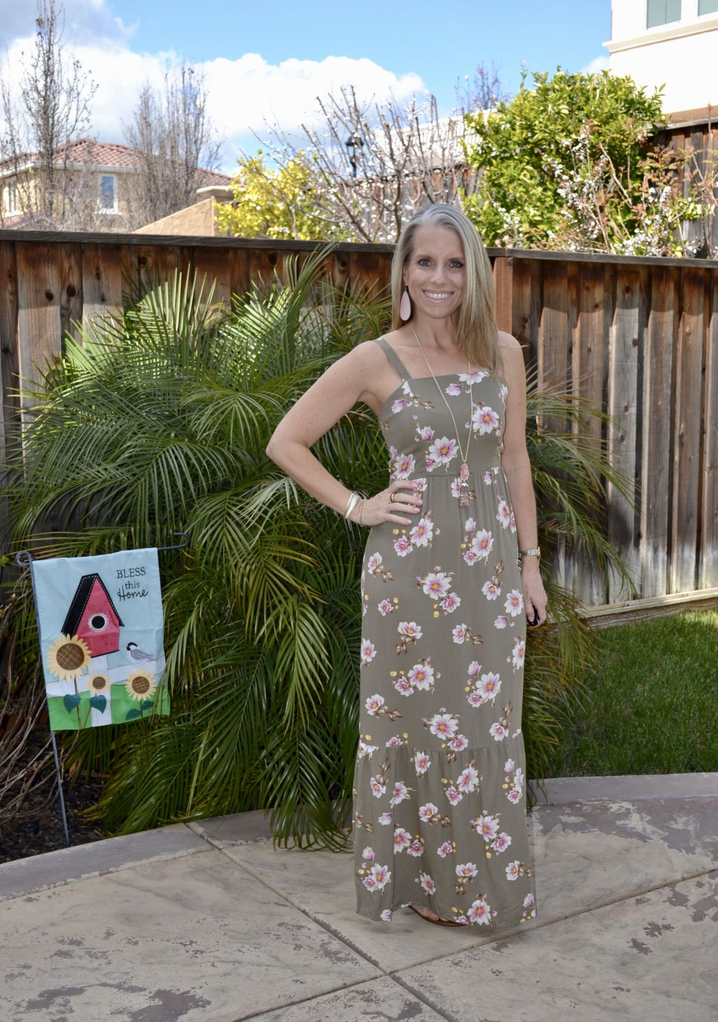 Target Floral Maxi Dress, Nickel & Suede Earrings