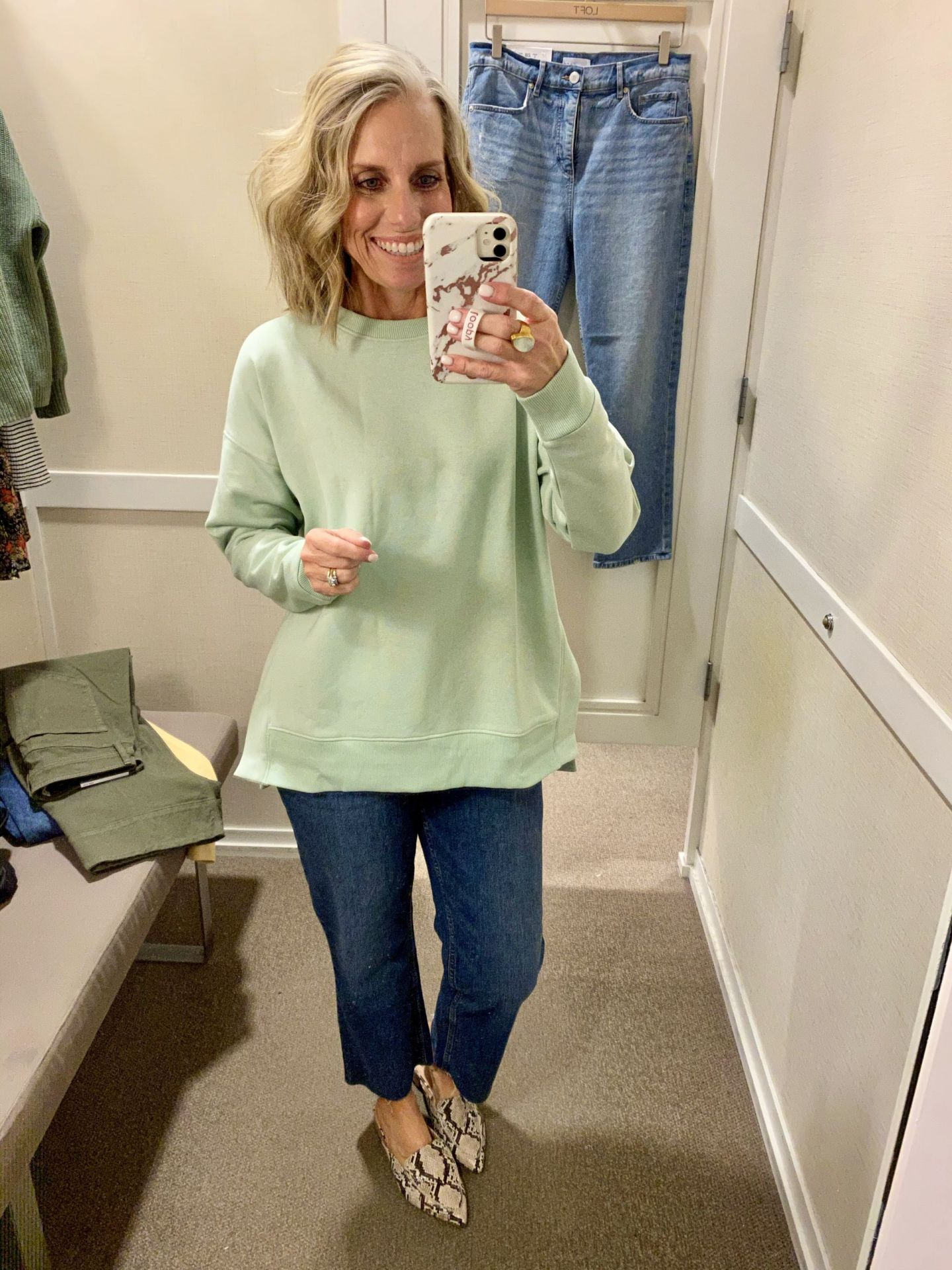 Loft green sweatshirt Friday Favorites