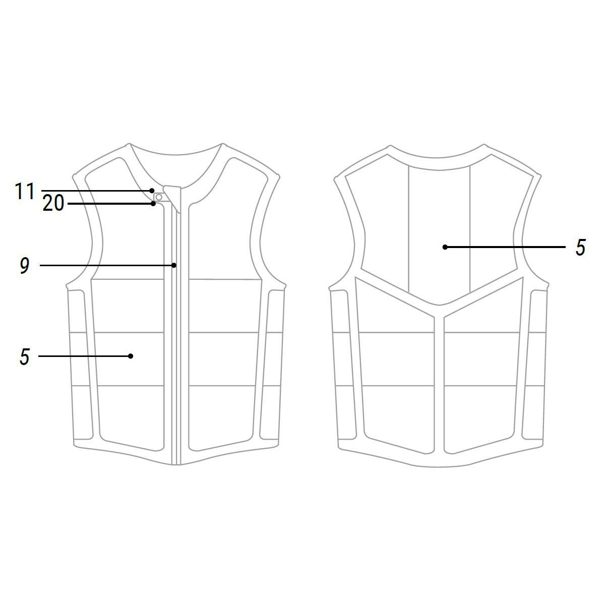 Mystic Brand Front Zip Impact Vest