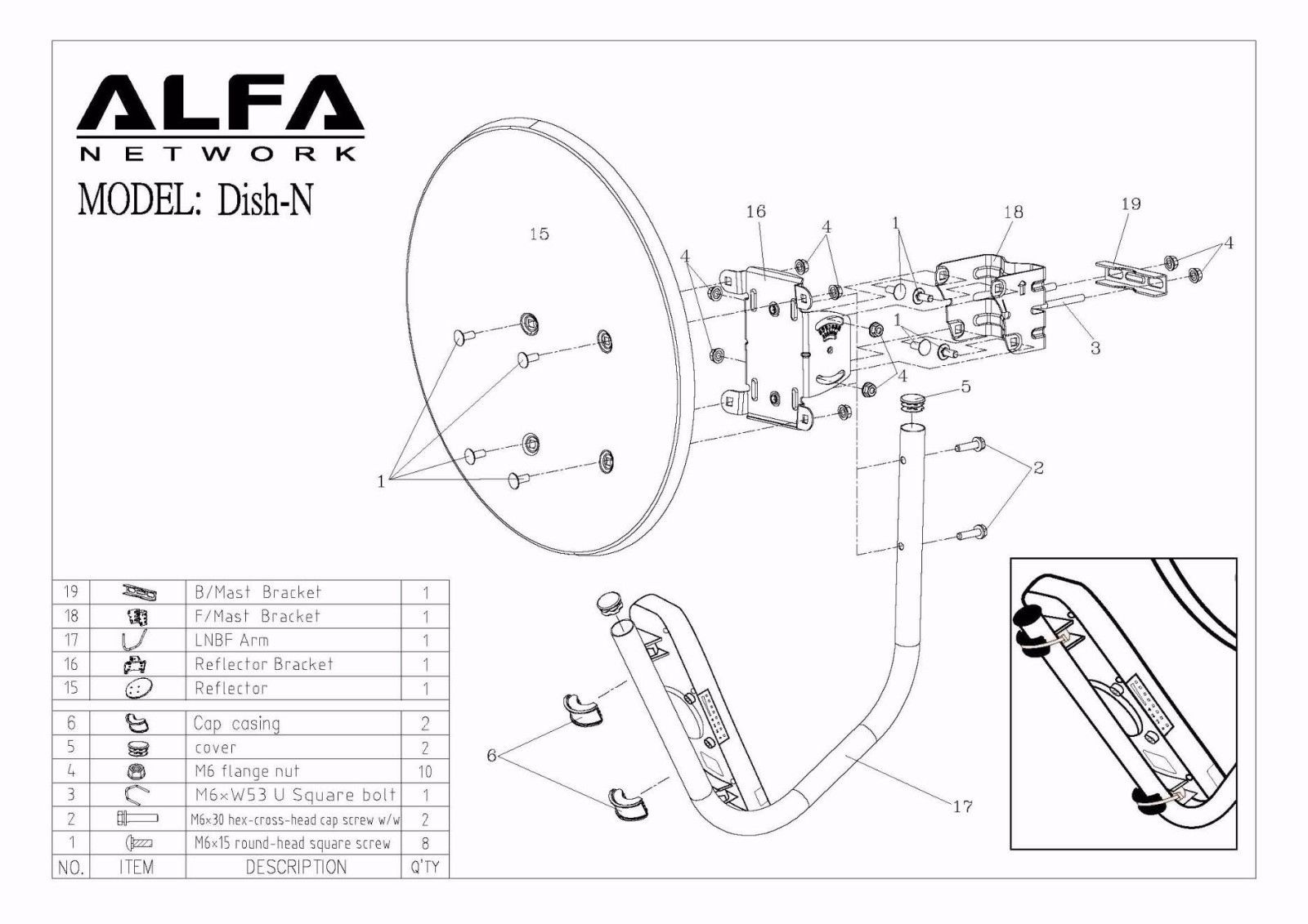 2 X Alfa Wifi Dish 22dbi Antn N2s Poe Cat5e Outdoor