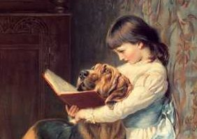 Little girl and big dog reading a book