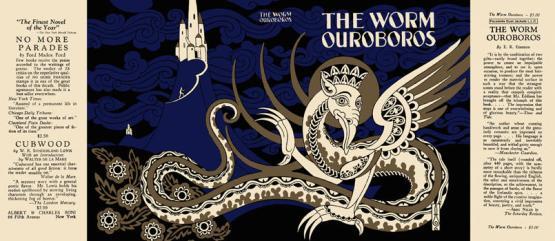 Original dust cover, 1926, for The Worm Ourobors by E.R. Eddison