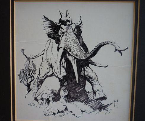 Elephant-like creature by Frank Frazetta