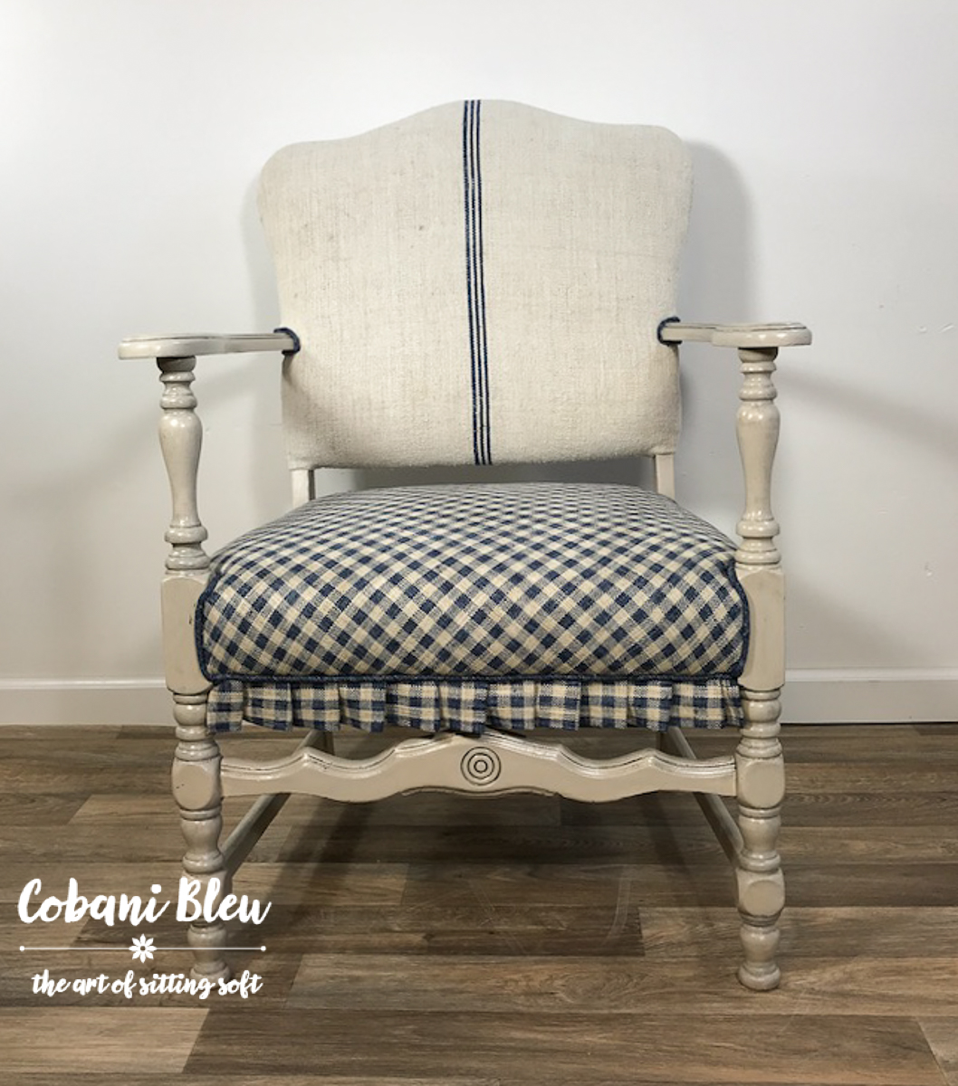 Authentic Grain Sack Gingham Chair