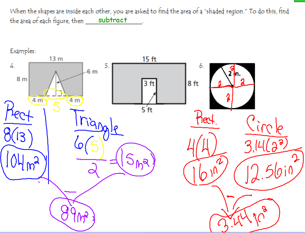 Notes On Composite Shapes And Area