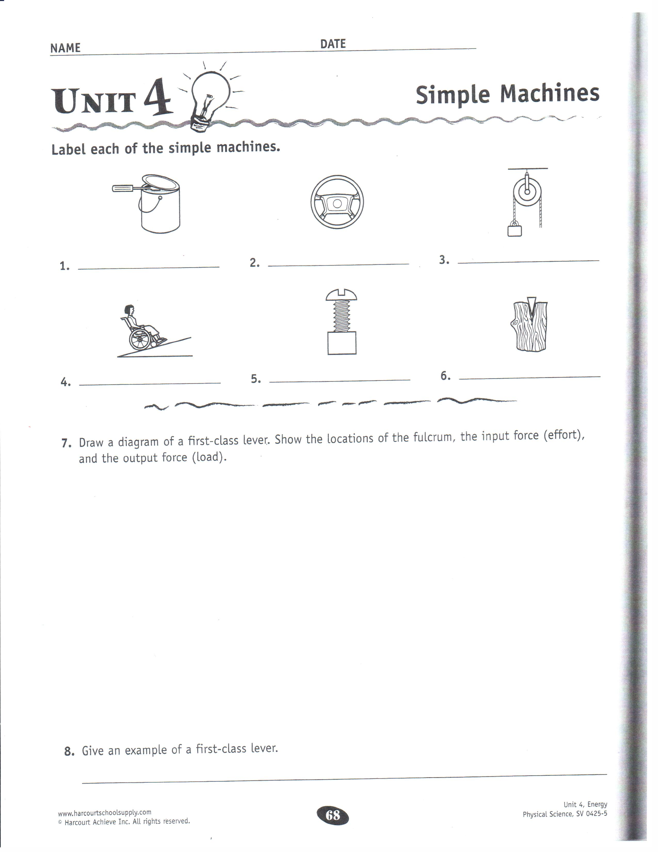 34 Simple Machines Worksheet Middle School