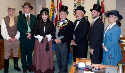 Photo at 1867 re-enactment. L-r: Brian Darling, John Henderson, Suzanne Seguin, Gil Brocanier, Forrest Rowden, Aaron Burchat, Debra McCarthy