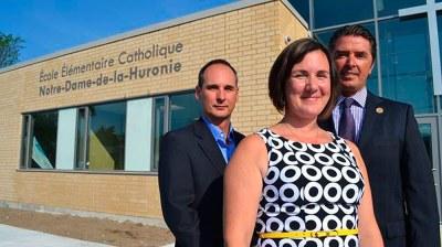 Collingwood school -  Trustee Donald Blais, principal Josee Lapalme and director of education Andre Blais