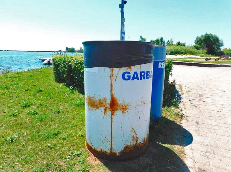 Trash can at waterfront