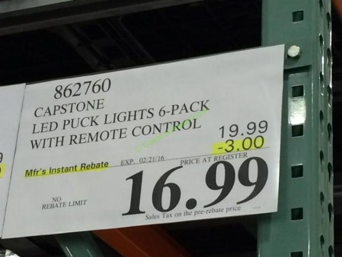 Capstone Led Puck Lights 6 Pack With Remote Control