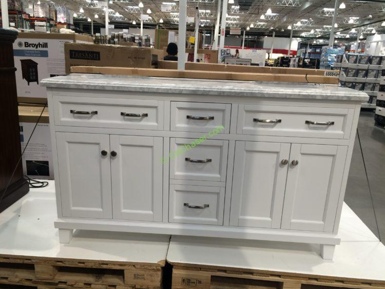 60 double sink wood vanity white with