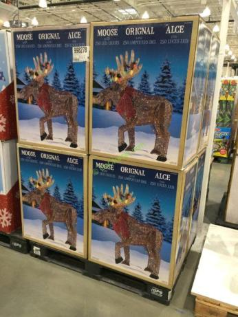 45 Led Glitter String Moose With Tangled Lights