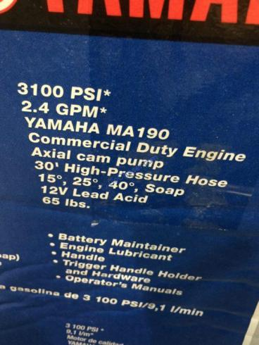 Yamaha Powered Electric Start 3100PSI Gas Pressure Washer