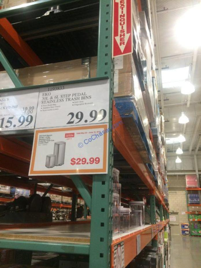 Costco-1193833-EKO-30L-6 L-Step-Pedal-Stainless-Steel-Trash-Bin-tag