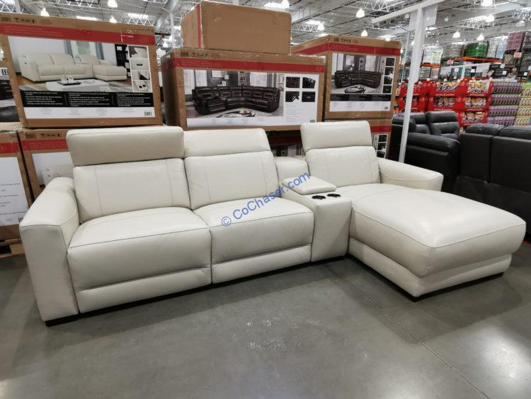 leather power reclining sectional with