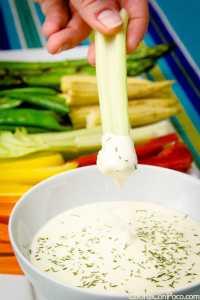 crudites de verduras con salsas dip ideal