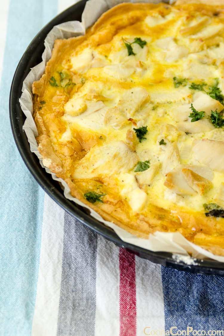 quiche de setas y pollo receta paso a paso sin gluten