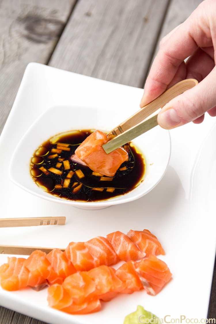 sashimi de salmón receta preparación marinado