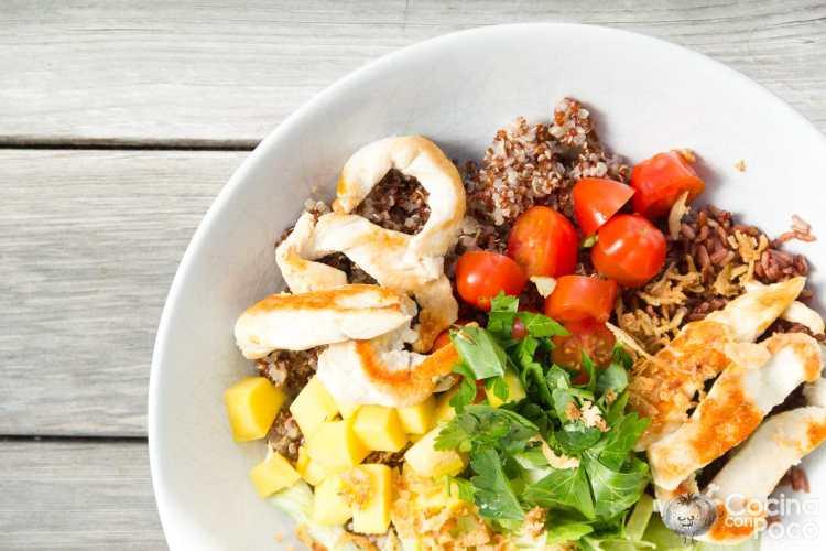 Bowl de pollo con arroz, quinoa y aguacate