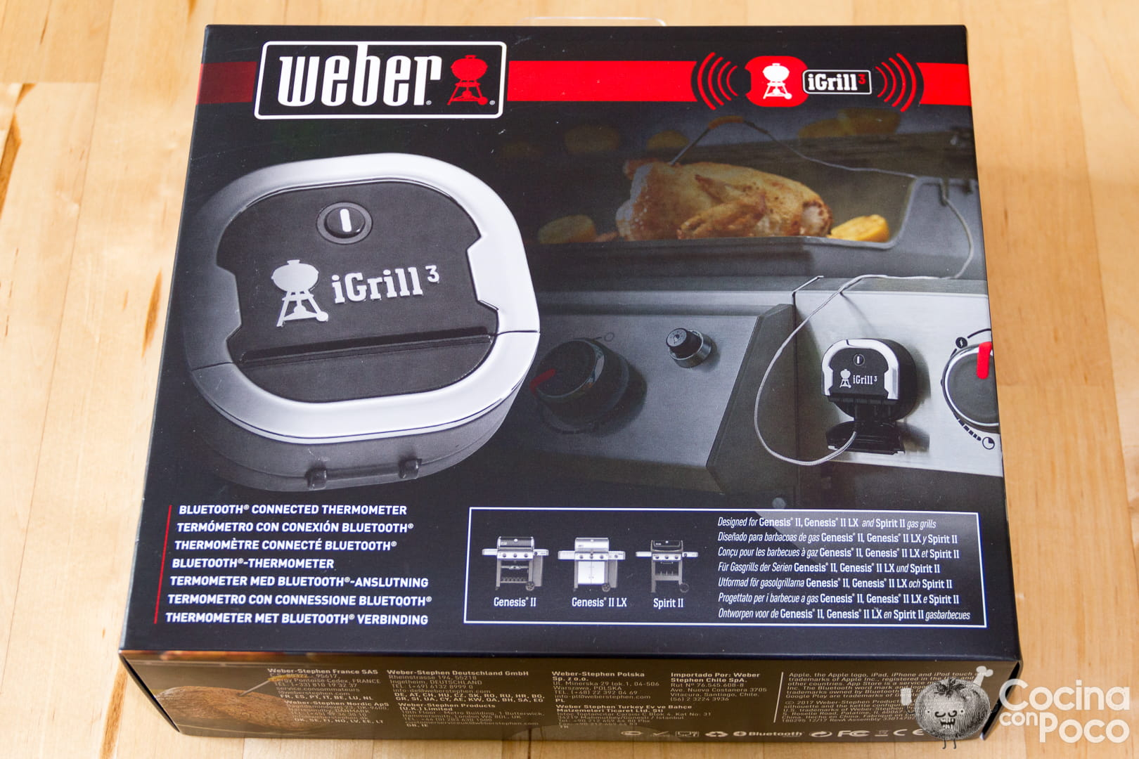 Weber iGrill 3 termómetro bluetooth para barbacoas tutorial de montaje instalación puesta en marcha emparejamiento con la app y uso con fotos paso a paso
