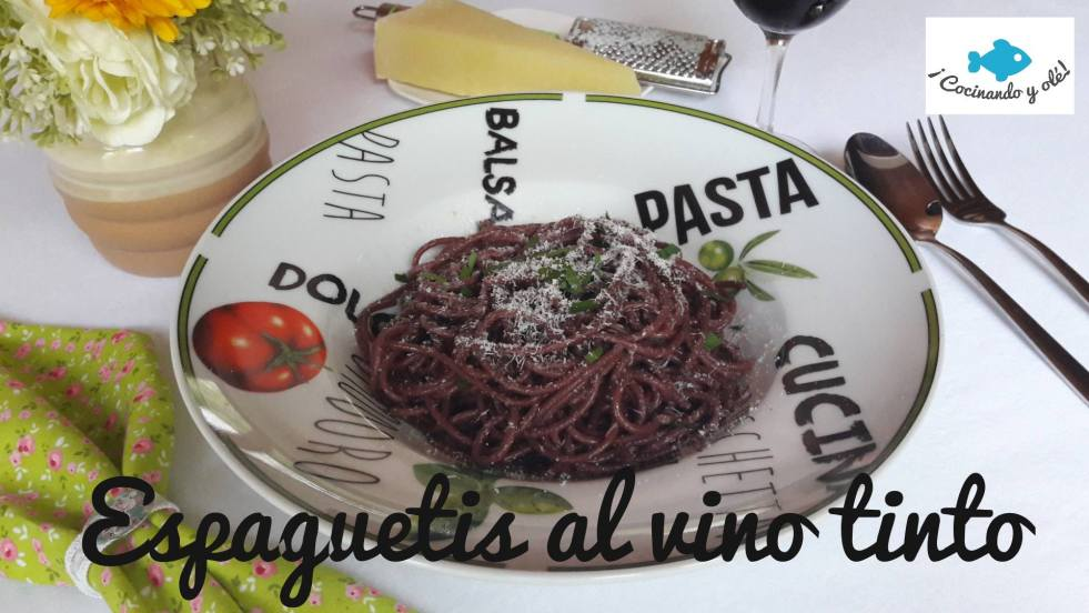 Espaguetis al vino tinto