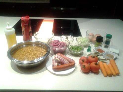 Lentejas estofadas con chorizo, panceta y ternera - ingredientes