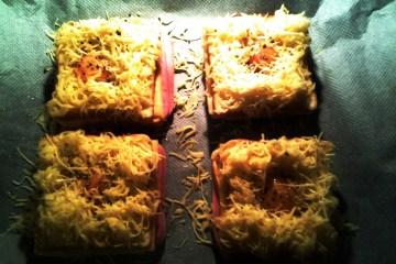 sandwich al horno con jamón queso y huevo